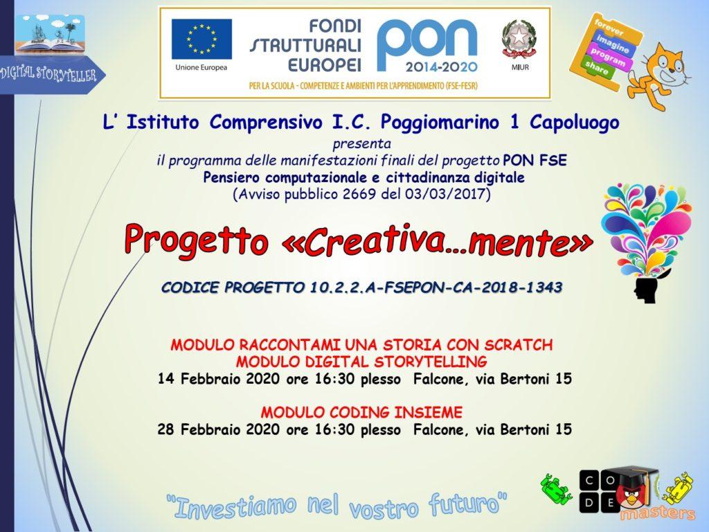 LOCANDINA MANIFESTAZIONE FINALE pon CREATIVA...MENTE DATE 14 E 28 FEBBRAIO 2020